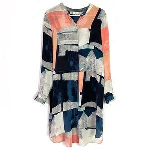 EUC Aritzia Wilfred Bossut Print Silk Shirt Dress